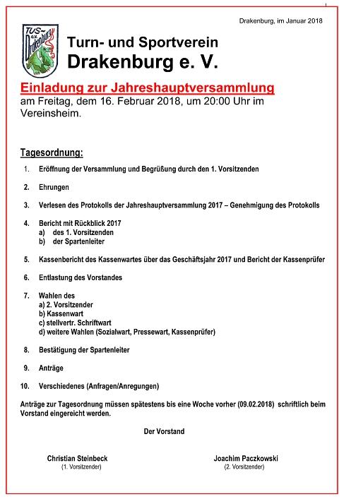Jahreshauptversammlung 2017©TuS Drakenburg