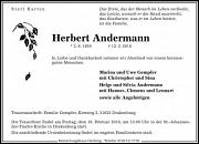 Traueranzeige Herbert Andermann